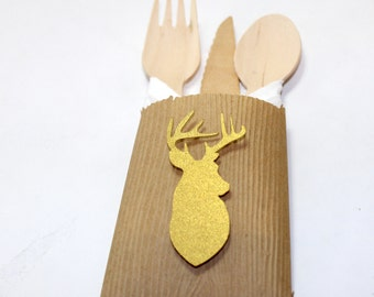12 Rustic Glam Gold Deer Head Antlers Woodland Kraft Place Settings utensil holders Thanksgiving Christmas winter wedding baby bridal shower