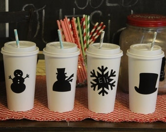 50 Snowman Winter Wonderland Snowflake Chalkboard Labels for Hot cocoa chocolate bar Christmas party idea
