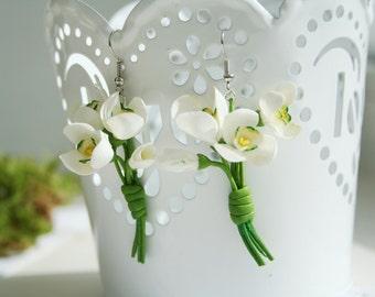 White flower earrings - snowdrops - flower earrings - botanical earrings - floral jewelry - white jewelry - spring jewelry - spring flower