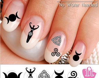 Wicca Symbol Nail Art Decal Stickers - Wiccan Nail Art - Goddess Horned God Mother Mother
