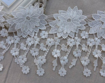 "White Lace Venice Daisy Floral Lace Trim Victorian Fringed Lace 6.8"" wide 2 Yards"