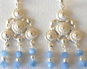 Puffs of Blue, Sterling Silver, Chalcedony, Blue, Post Earrings, Chandelier Earrings, Gift Idea