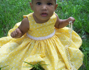Bright Yellow Baby Girl Dress with Polka Dots and Matching Lace Head Band