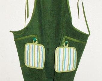Full length apron with potholders