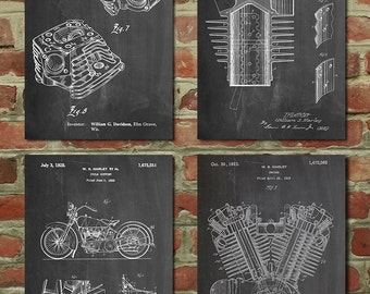 Harley Davidson Patent Posters Group of 4, Harley Davidson Decor, Motorcycle Art, Motorcycle Parts, Harley Motorcycle, PP1185