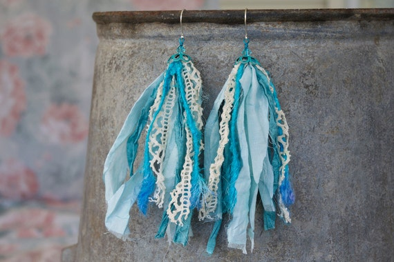blue fair trade sari silk shoulder duster earrings with vintage lace