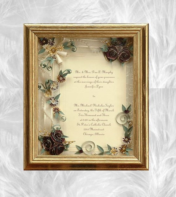 framed wedding invitation framed wedding gift gold wedding, Wedding invitations