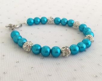 Turquoise Rhinestone Pearl Bracelet, Turquoise Bridesmaid Wedding Jewelry, Aqua Blue Bracelet, Malibu Wedding Jewelry, Bridesmaid Gift
