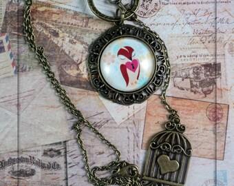 Bird in a cage Cabochon Charm necklace. Antique Bronze. Birdcage. Key.