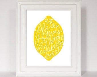 When Life Gives You Lemons Make Limoncello, Bar Decor, Lemon Print, Yellow Kitchen, Kitchen Art, Hand Lettered, Lemon Art, Lemonade Art