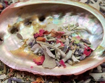GODDESS SMUDGE MIX Cleanse & Purify Your Magical Space White Sage Lavender Rosemary Rose Petals Wicca Smudging Herbs with Red Abalone Shell