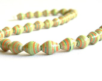 Paper Bead Jewelry Supplies - Paper Beads - Hand painted - Lot of 32 - #804
