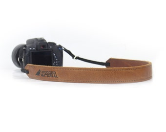 Premium Tan Full Grain Leather Digital  SLR or Mirrorless Camera Neck Strap