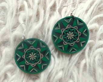 Green hand carved leather earrings - tooled leather jewelry