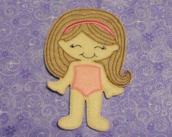 Olivia Felt Non Paper Doll - Doll with detail stitched hair - Paper Dol -Unpaper Doll - Quiet Toy - Dress up Doll - Party Favor
