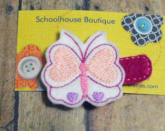 Pink & Lavender Butterfly with Hearts Felt Hair Clips, Heart hair clip, Feltie hair clip, Feltie, Felt Hair Clippie, Party favor