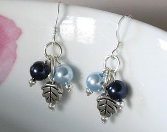 Blue Pearl Earrings, Leaf Earrings, Swarovski Earrings, Long earrings, Handmade Earrings, Blue Earrings, Simple Earrings, Pretty Earrings