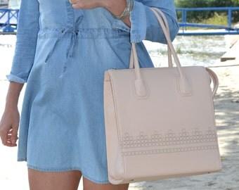 Leather Handbag, Leather Bag, Cream Leather Bag, Large Leather Tote Bag, Laser Engraved Bag