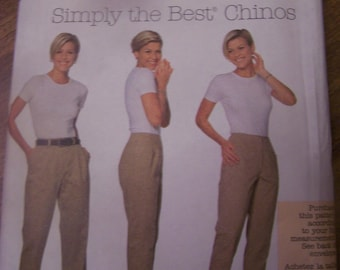 Womens chinos pants, Simplicity 7590, UNCUT sewing pattern, craft, supplies, Sizes 10-14