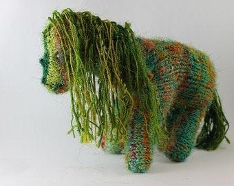 Plush Horse, Hand knit, Hand spun yarn, silk body, 100% wool stuffing, waldorf doll, eco friendly