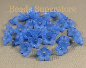 13 mm x 7 mm Royal Blue Lucite Flower Bead - 20 pcs