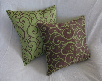 Set of two Green - Brown, vine patterned pillow cases