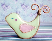 Bird Brooch of Green mint Polymer clay and copper wire