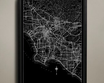 Los Angeles Wall Art los angeles skyline art print hollywood wall art la art