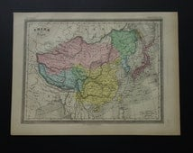 """Over 137 year old map of  China and Japan 1878 antique French print about Chinese empire - vieille carte Chine et Japon Nippon 23x31c 9x12"""""""