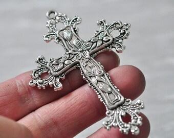 3pcs Antique Silver Large Cross Charm Pendant Leaf Flower Charm Pendant 74x52mm PP775