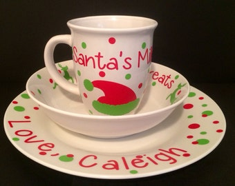 Christmas Cookies for Santa Plate Reindeer Bowl Milk Cup Personalized