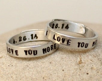 I Love You More Rings - Set of Two Personalized Rings - Couple rings. Adjustable. Custom Silver rings.. Hand Stamped, Aluminum Rings..