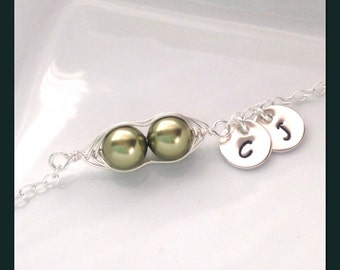 Custom 2 Peas-in-a-Pod Necklace - Personalized Sterling Silver Pea Pod Initial Necklace - Wire Wrapped Two Pea Pod Necklace - Peas in a Pod