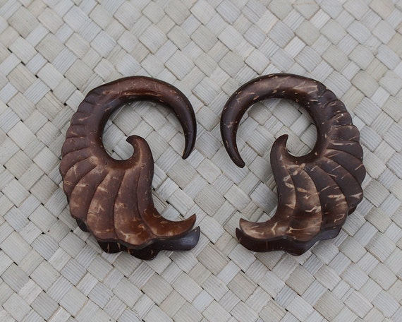 6G 4mm Pair of Coconut Wooden Gauges - Double Wing Design - Ethnic Organic Ear Gauge Hand Carved Body Art Jewelry