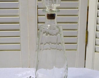Vintage Glass Decanter with Stopper Old Liquor Bottle Barware PanchosPorch