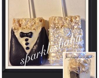 Bride, Groom, Wedding chocolate covered rice krispie treats- set of 12