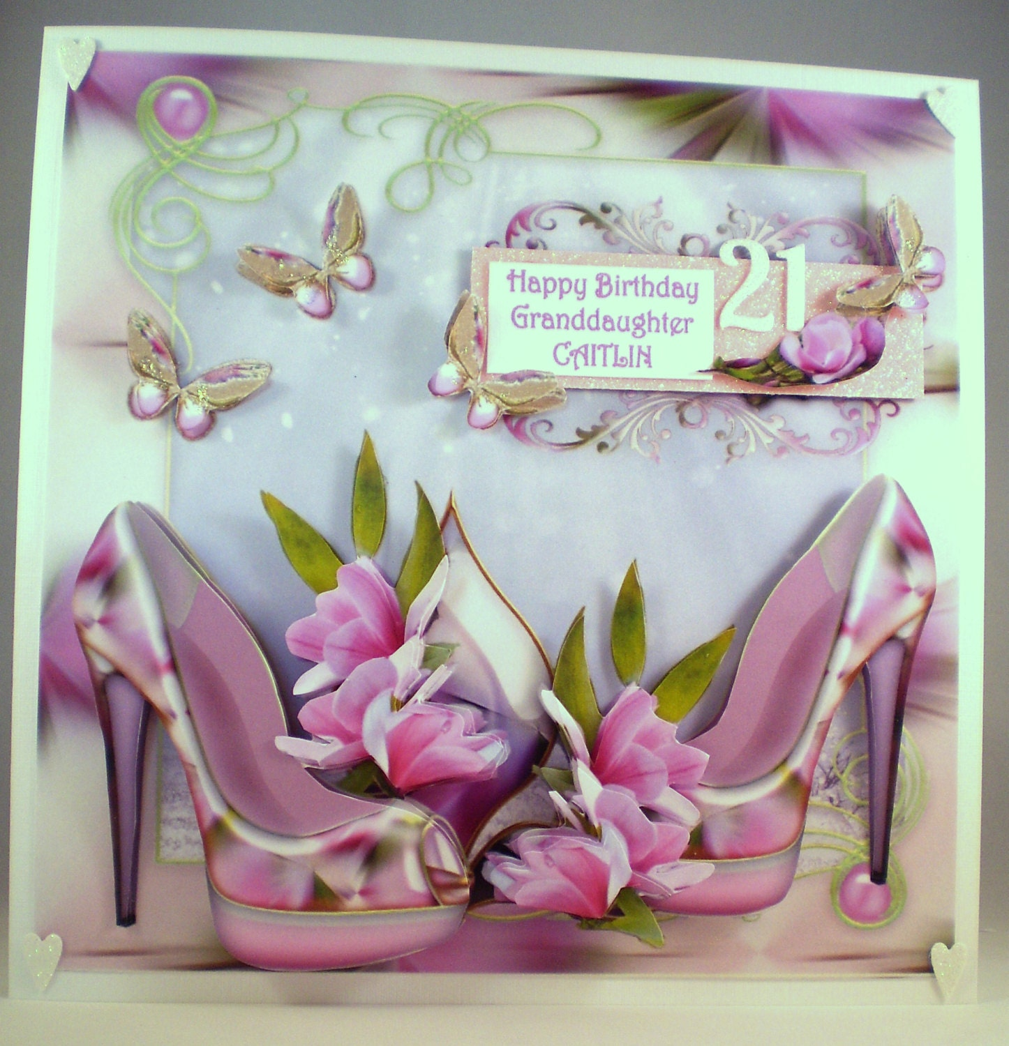 Personalised Handmade 21st Birthday Card shoes