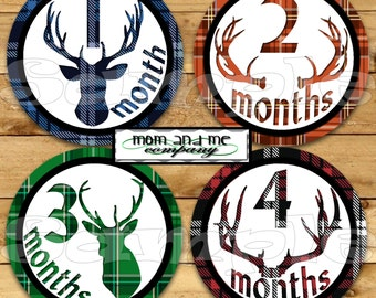 Deer Boy Baby Monthly Stickers Baby boy Month Milestone Stickers Deer Hunter Antler Baby Month Stickers Monthly Bodysuit Stickers Woodland