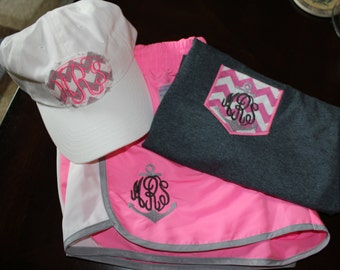 Women's monogrammed running gym shorts and matching chevron faux pocket and matching ball cap