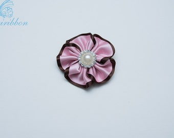 pink and brown ribbon flower hair clip - girl Hair Accessories
