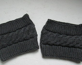 Boot Cuffs, 12 colors boots cuffs,Dark gray merino wool boot cuffs, Knitted Leg Warmers with Cable, Boot Toppers,Winter accessory, Handmade