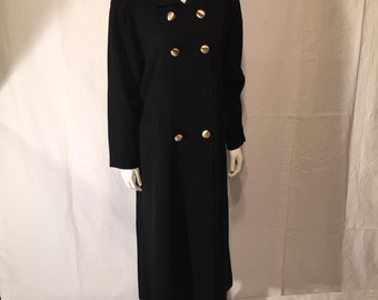 Eighties 80s Black Wool Coat Double Breasted with Brass Buttons Trench Style Sara Roberts Made in USA Size XXL 20