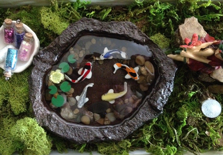 Miniature koi pond a fairy garden accessory fairy garden or for Mini garden pool