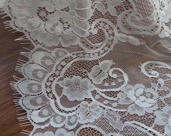 Off white bridal chantilly lace, wedding gown floral lace, both scalloped edge trim
