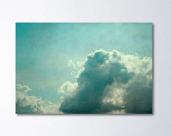 Large Canvas Print, Shabby Chic Decor, Oversized Art, Mint Green Art, Peaceful Bedroom Art, Canvas Wall Art, Cloud Photography, Sky Canvas