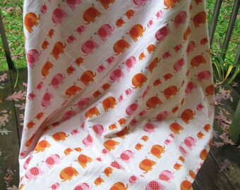 Elephant Walk Extra Large Reversible Flannel Receiving or Swaddling Blanket, Double Layer Crib Blanket, 2 Layer
