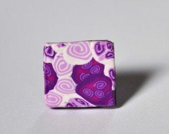 purple and white millefiori Ring
