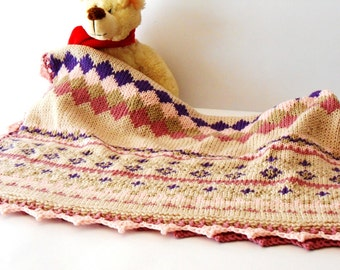luxury baby knit blanket, Fair Isle knit throw, hand knitted blanket in pure Merino wool by cosediisa