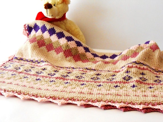 luxury baby knit blanket Fair Isle knit throw hand knitted
