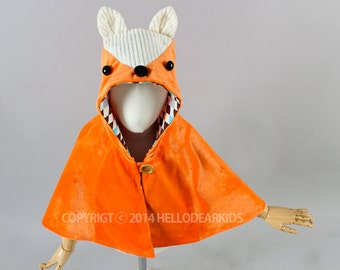 Kid's sewing pattern pdf/ fox cape/ fox manteau/kids costume/halloween costume /children clothing/2T-6Years